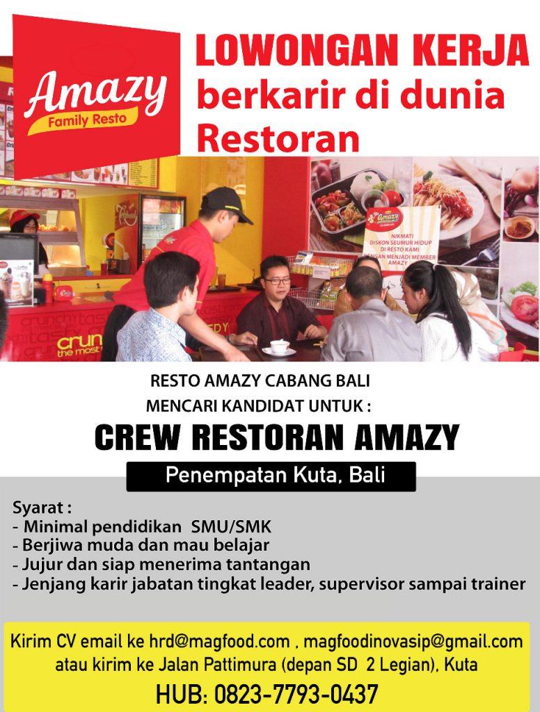 Lowongan Kerja Crew Di Amazy Kuta Bali Magfood Amazy